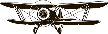 retro biplane vector monogram black airplane classic front Banque d'images - 127904211
