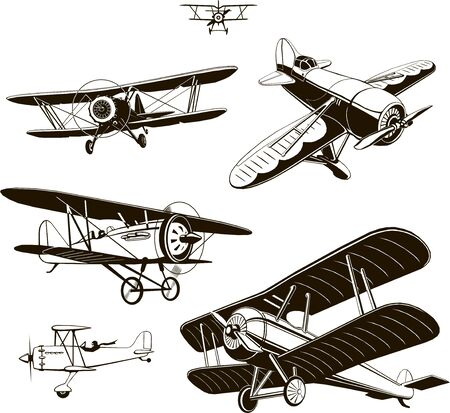 vintage biplanes set vector black old, logo, emblem, label Banque d'images - 127904213