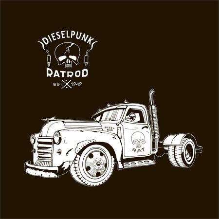 diesel truck ratrod dieselpunk 2x4 white on black, retro, vector image