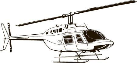 Vector drawing of civil helicopter, graphic illustration, hand drawing, isolated, clip art, monogram