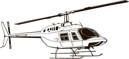 Wektor rysunek cywilnego helikoptera, ilustracja graficzna, rysunek odręczny, na białym tle, clipart, monogram Ilustracje wektorowe