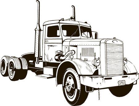 retro ciężarówka klasyczny pojazd z silnikiem wysokoprężnym ładunek odizolowany naczepa ciężarówka z przyczepą 18-kołowy ciągnik duża platforma ciężarówka Ilustracje wektorowe