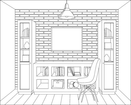 vector hair lines living room, mock-up, picture, brick wall, digital paper, graphic illustration