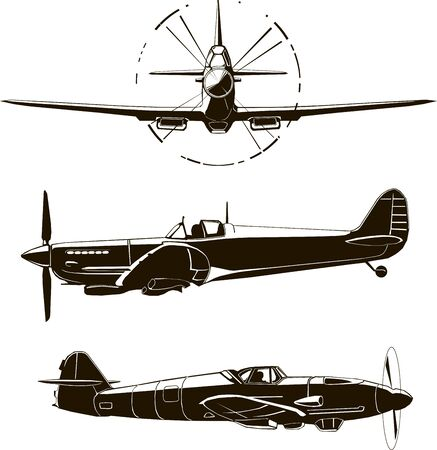 Second World War fighter, navy airplane, vector illustration, Britain, Germany, front and side view, isolated, monogram, silhouette, black graphic drawing
