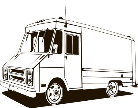 vintage step van, vector art, monogram, isolated, black, graphic, hand drawing vector illustration, logo, clip art Stock Vector - 133193754