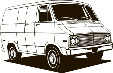 classic commercial van, 1970 s style, vector drawing, graphic, isolated, monogram, symbol, logo Stock Vector - 133193756