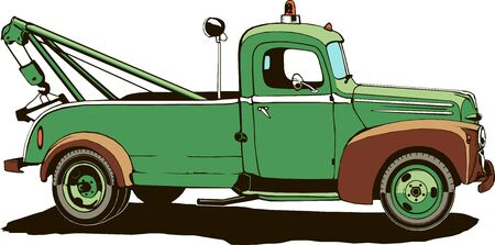 vintage tow truck, vector illustration, monogram, graphic, logo, green color, isolated Stock Vector - 133193757