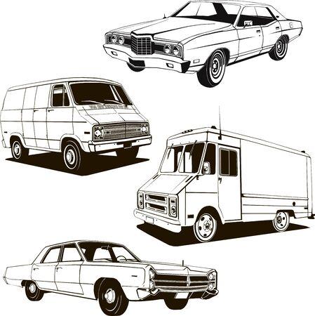 1960 retro classic cars set of 4 vintage cars