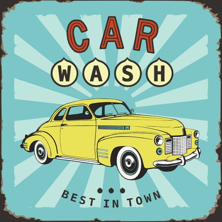 car wash vintage board old metal sing Векторная Иллюстрация