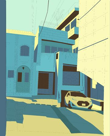 Tokyo yard, color vector illustration, car in old yard japan manga style background blue and yellow colors