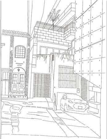 Tokyo courtyard, color vector illustration, car in old yard japan manga style background line drawing