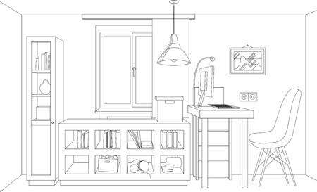 vector hair lines living room, mock-up, picture, brick wall, digital paper, graphic illustration line drawing
