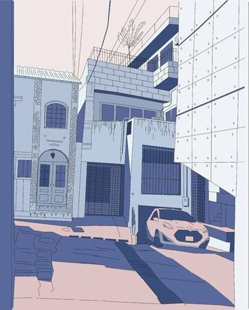 Tokyo courtyard, color vector illustration, car in old yard japan manga style background blue and pink colors
