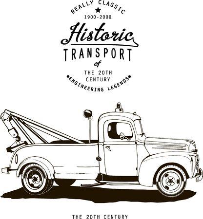 vintage towing track with logo, vector, monogram, black, label, t short