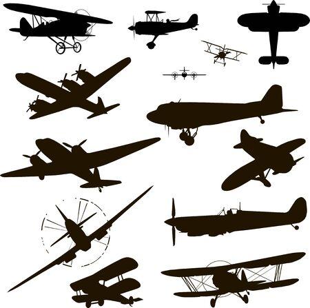 retro plane silhouette vector illustration Illustration