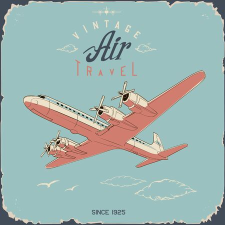 retro aviation travel poster and sign in simple colors