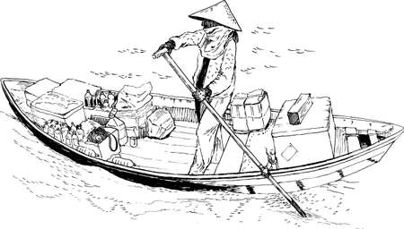 A female farmer on a boat in the South China Sea. Sketch. Vector illustration Vektorové ilustrace