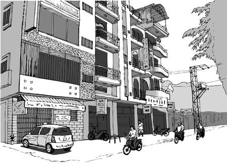 small shopping street in Vietnam, people on scooters, gray color scheme Vektorové ilustrace