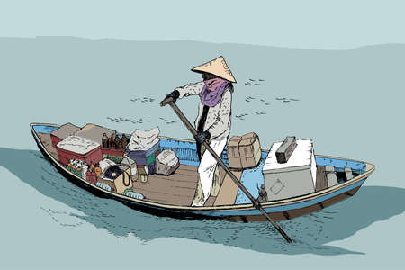 A female farmer on a boat in the South China Sea. Sketch. Vector illustration, lo-fi colors, anime style Vektorové ilustrace