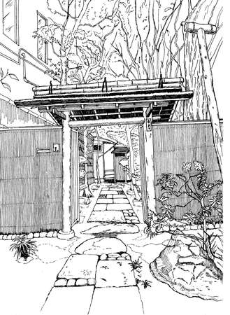 Gate to the Courtyard, Tokyo, sketch, black graphic hand drawing