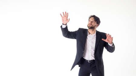 仮想ホワイトボードに触れるビジネスマン 写真素材 - 97854990