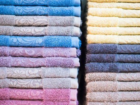 Background texture of Pile of colorful clean towels