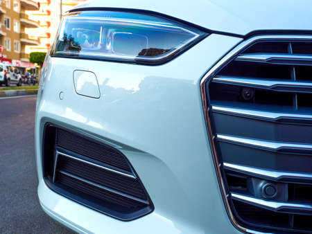 close up of car head light.