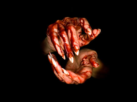 scary zombie hand on dark background. maybe useful for some Halloween concept Imagens