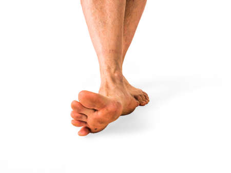 Close up dirty feet isolated white background Stock Photo