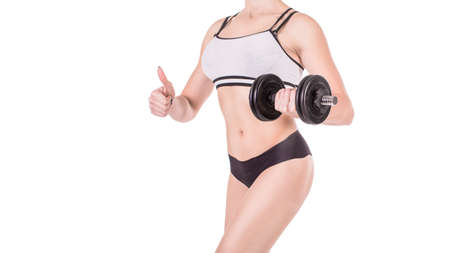 Fitness girl with dumbbell isolated on white background