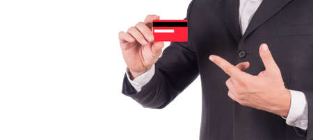 cropped image of a businessman showing card. New year colors