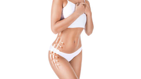 Female body with patterned lines and arrows on it, isolated on white. The concept of plastic surgery, fat removal, liposuction and cellulite