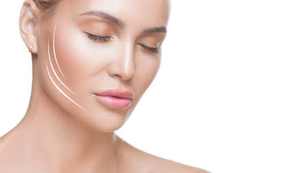 Close up photo of woman with closed eyes and lines on face. Face lifting concept. Cosmetics procedures.