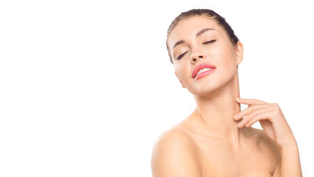 Spa concept. Woman touching clean skin on her neck. Natural beauty