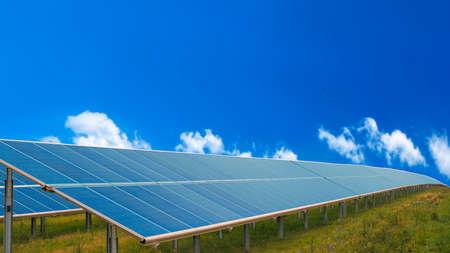 Solar electric power plant. Green energy concept. 写真素材