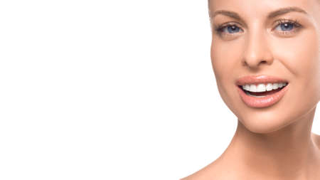 Close up woman portrait on white background. Skin care, teeth care and teeth whitening concept 写真素材