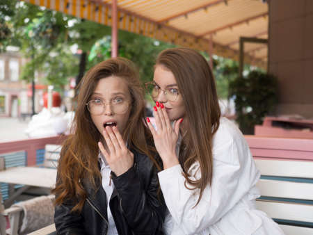 Girls share secrets in a cafe. Fun and shoking.