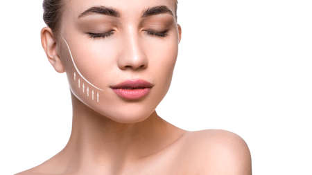 Close up portrait of a beautiful woman with lifting lines on the face. Face lifting and skin care concept