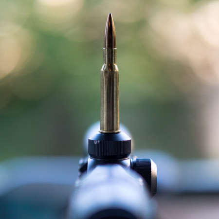 Close up view of a cartridge on rifle scope.