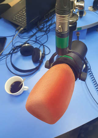 Close up photo of the microphone at radio station