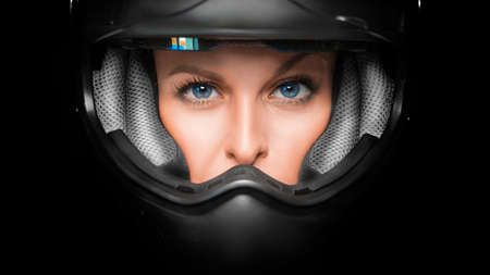Close up view of a woman face in biker helmet. Stok Fotoğraf