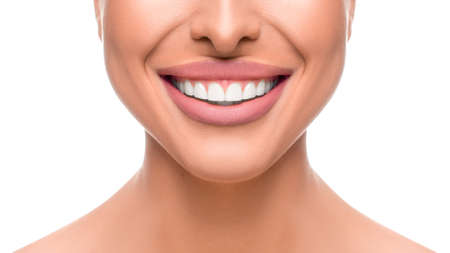 Close up photo of smiling woman. Tooth whitening concept. Stok Fotoğraf