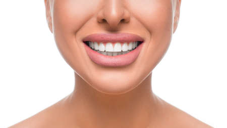 Happy smiling woman with perfect teeth. Close up view. Dental health concept. Stok Fotoğraf