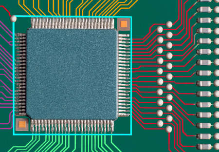 Electronic circuit board with processor, close up photo