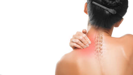 Health care concept: pain in a neck. Woman neck and back close up.