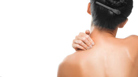 Close up woman neck and shoulder pain Health care and medical concept. Zdjęcie Seryjne - 134778449