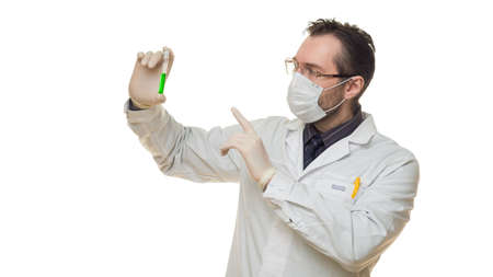 Doctor holding test tube with virus blood sample and keeps finger in warning sign. Healthcare and medical concept. Photo on white background.