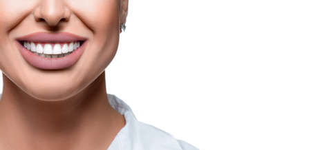 Close up photo of woman mouth with perfect white teeth. Dental health concept with copy space.