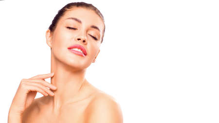 Spa and natural beauty concept. Woman touching clean skin on her neck.