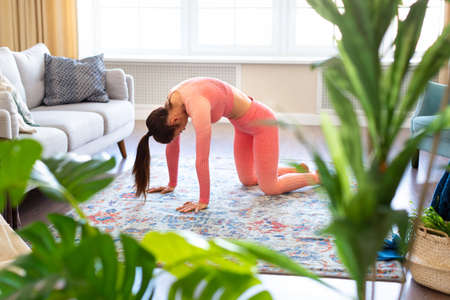 A woman stretches her back. She is doing yoga exercise. Home workout.